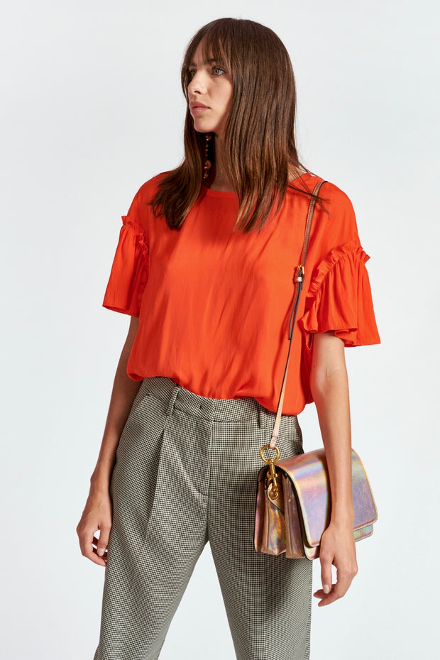 ZIVET RUFFLED SLV TOP
