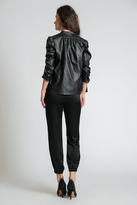 ANTHONY FAUX LEATHER TOP