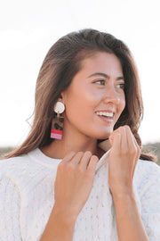 RASPBERRY DIPPED CABANA EARRINGS