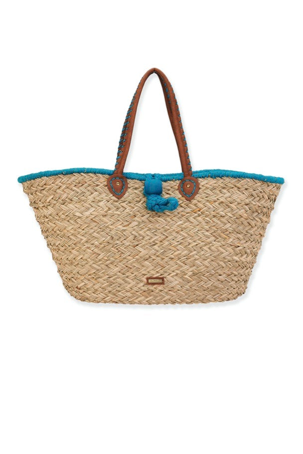 STRAW SHOULDER TOTE W/LOOP CLOSURE