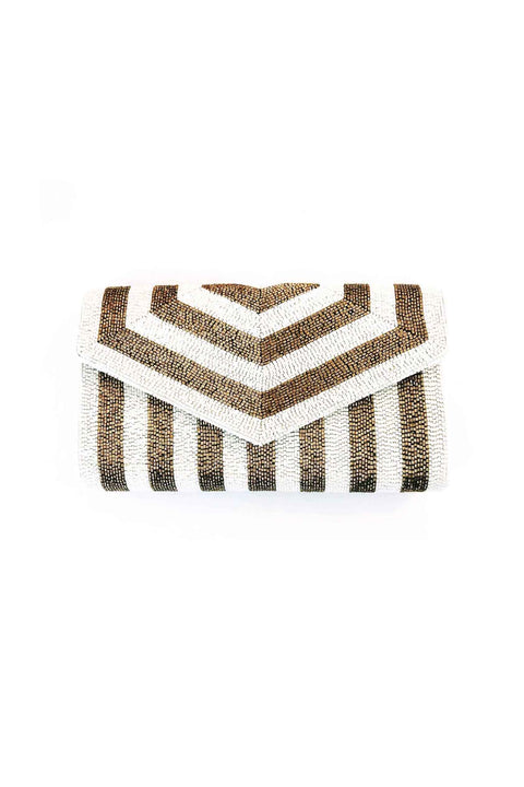 ENVELOPE STRIPE CLUTCH