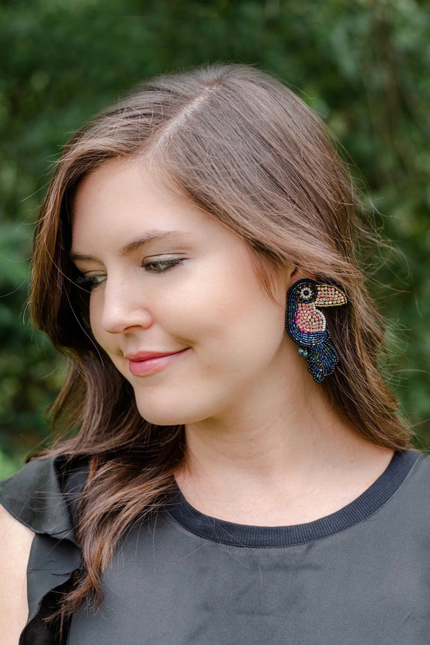 RHINESTONE TOUCAN EARRINGS- MULTI