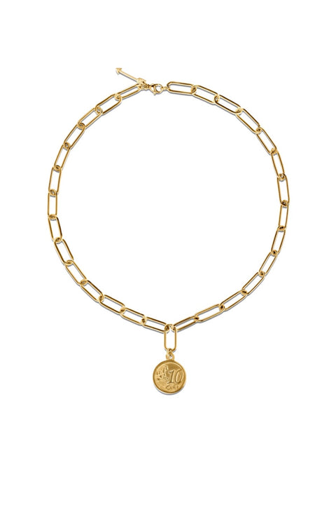 ELSA PAPERCLIP CHAIN COIN NECKLACE- GOLD