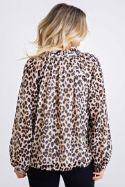 LEOPARD LUREX LONG SLV TOP