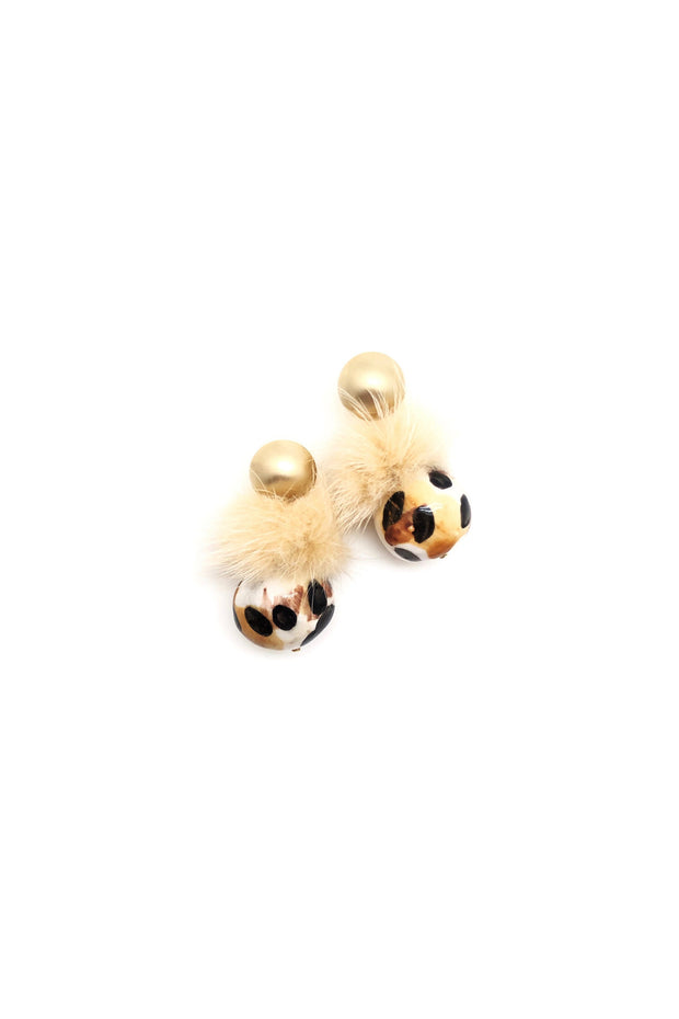 LEOPARD POM EARRINGS