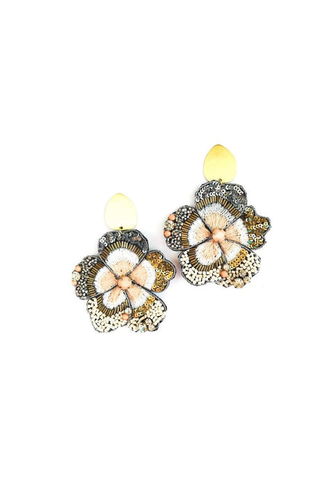 FLOWER POST EARRINGS- PINK/GLD