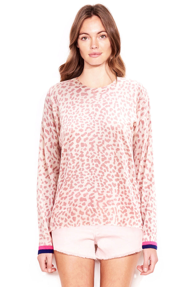 LEOPARD CREW NECK SWEATER