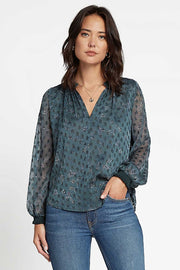 ARROW PATTERNED ORGANZA LS TOP