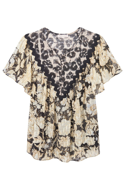 SLEEVELESS GOLD LEAF TOP