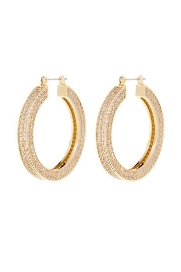 PAVE CELINE HOOPS- GOLD