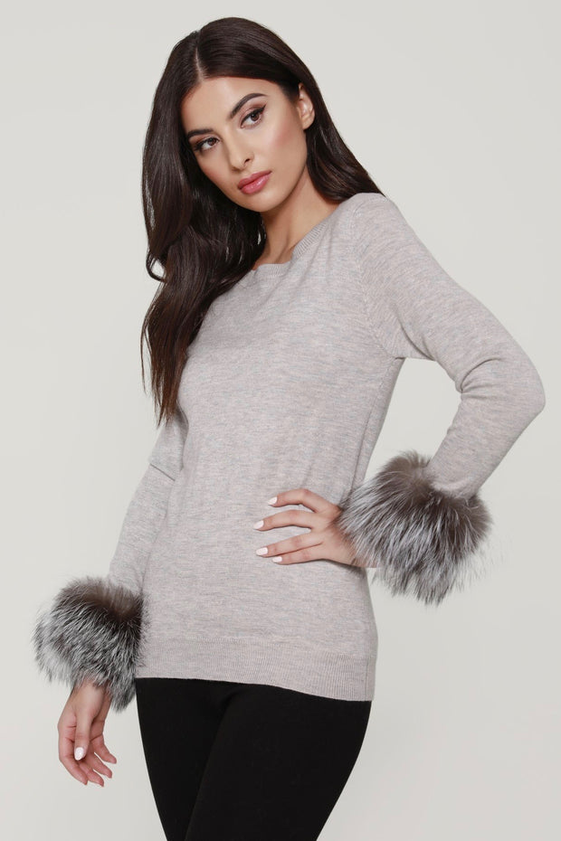 FAUX FUR TRIM SWEATER