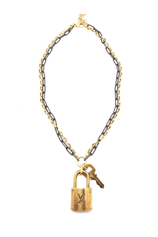 DESIGNER LOCK PAD NECKLACE- LAYERED