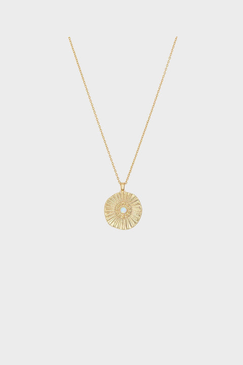 SUNBURST COIN NECKLACE- GOLD