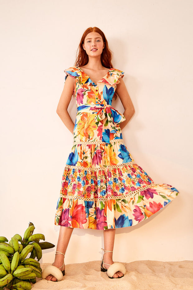 MARYS GARDEN FRILLED TOP MIDI DRESS