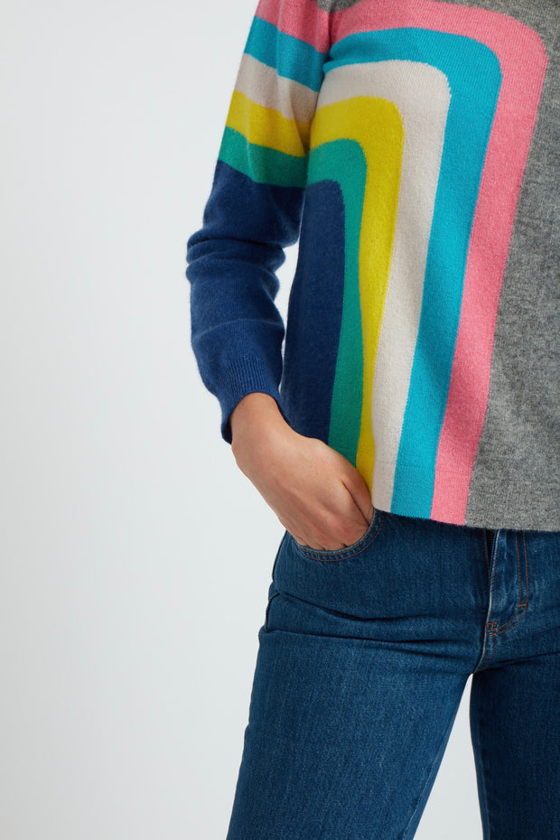 ANGLE STRIPE CREW SWEATER