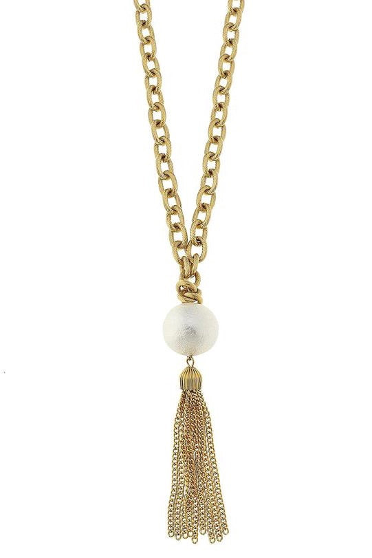 COTTON PEARL TASSEL NECKLACE- GOLD