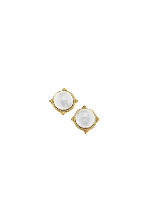 COTTON PEARL CAB STUDS- GOLD
