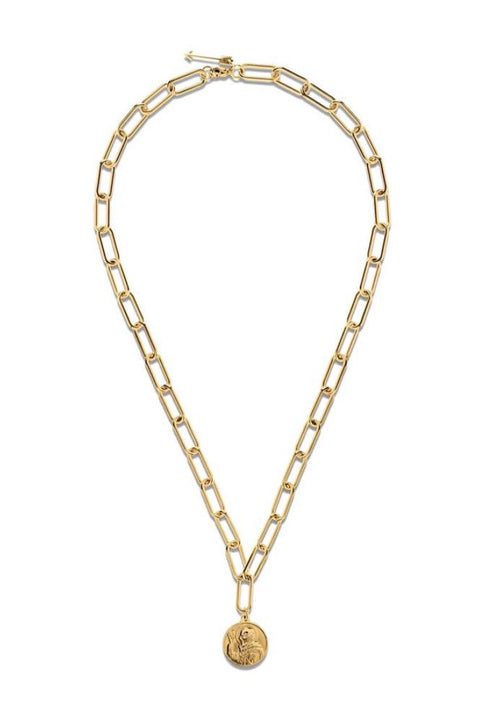LEONIE PAPERCLIP CHAIN COIN NECKLACE- GOLD