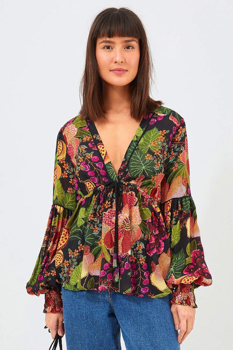 BLACK FRUIT FLORAL BLOUSE