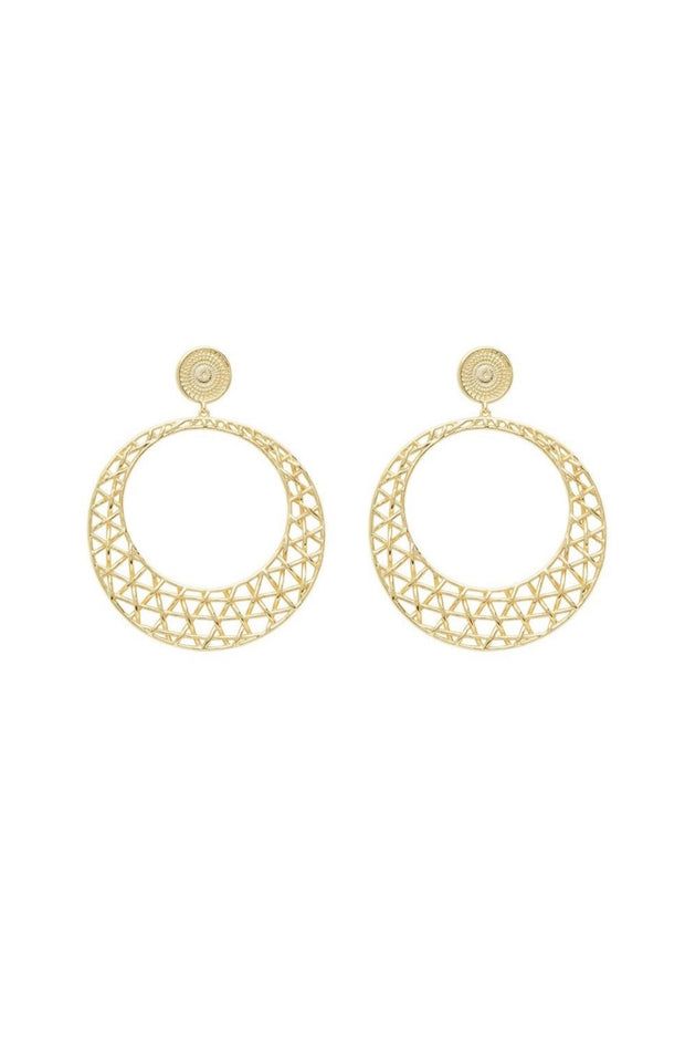 TULUM DROP HOOPS- GOLD