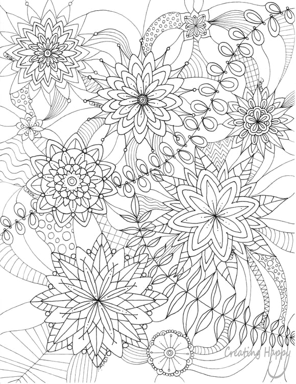 Free Coloring Page- Flower Doodle