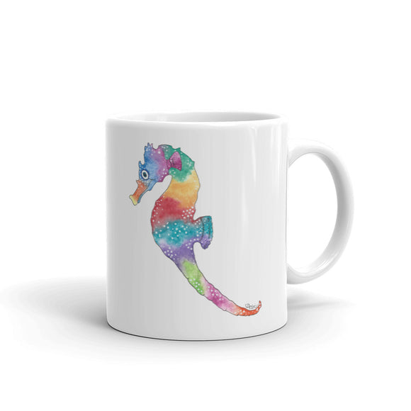 Happy Seahorse Mug, printed on both sides- 2 sizes