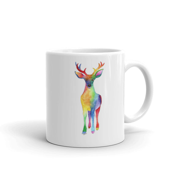 Autumn Rainbow Deer Watercolor Design Mug
