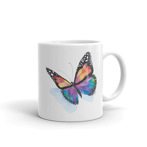 Colorful Butterfly Shadow Ceramic Mug, printed on both sides- 2 sizes