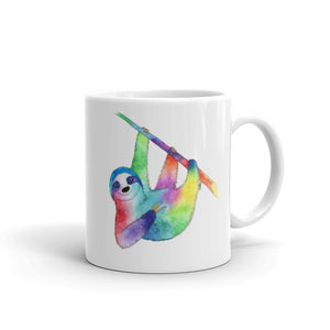 Happy Rainbow Sloth Ceramic Mug, printed both sides- 2 sizes