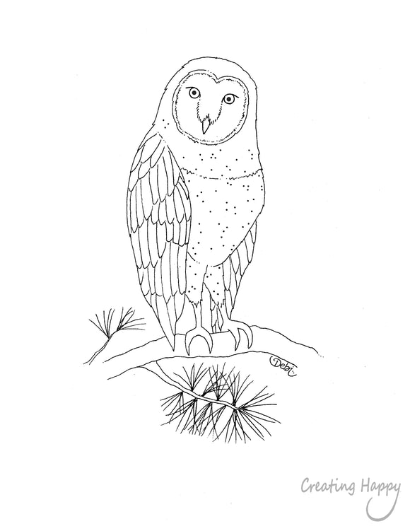 Free Coloring Page - Wise Barn Owl