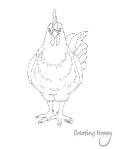 Free Coloring Page - Happy Rooster