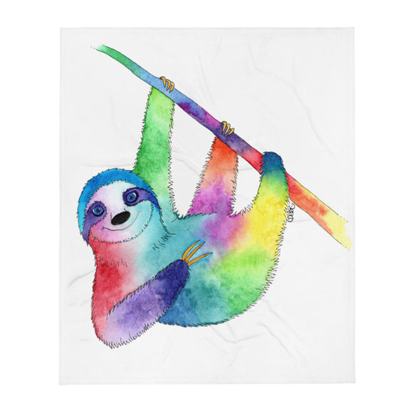Happy Rainbow Sloth Soft-Plush-Throw Blanket