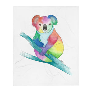 Happy Rainbow Koala Bear Soft-Plush Blanket