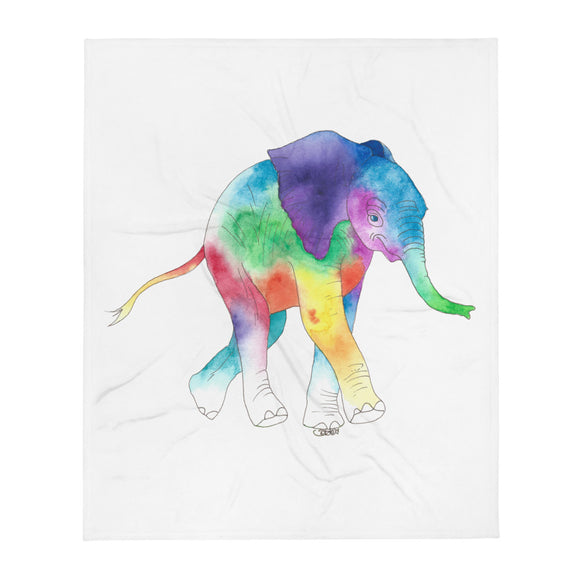 Happy Baby Elephant Soft, Silk Touch Throw Blanket