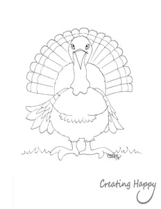 Free Coloring Page- Happy Turkey