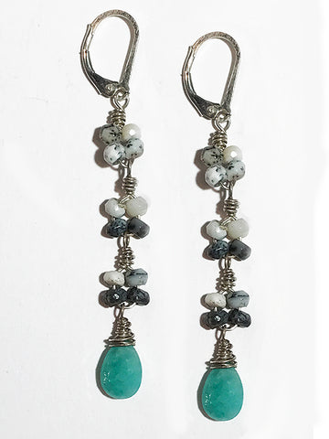Amazonite and Dendrite Opal Earrings