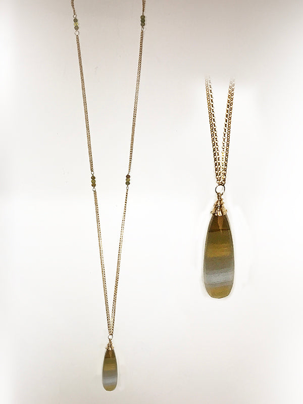 Striped Chalcedony and 14k Goldfill Necklace