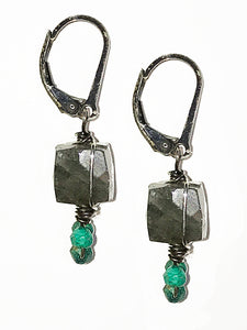 Labradorite and Chrysocolla Earrings