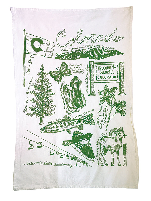 State of Colorado Symbols Dish Towel