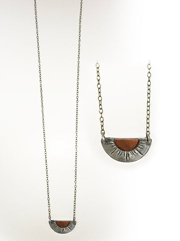 Sterling Silver and Bronze Half Circle Necklace
