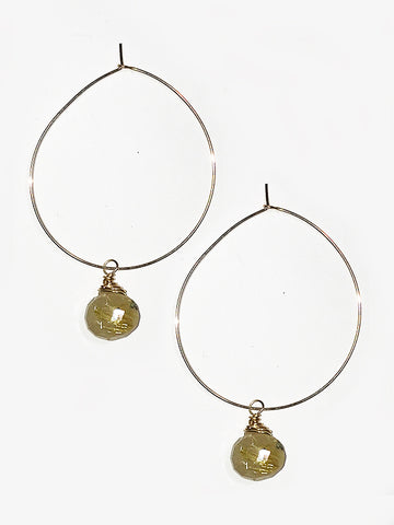 Rutilated Quartz and 14k Goldfill Hoops