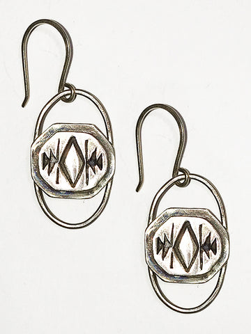 Sterling Silver Aztec Earrings
