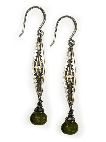 Vesuvianite and Sterling Earrings