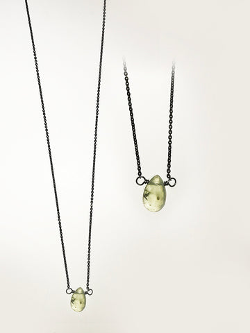 Prehnite and Oxidized Sterling Silver Necklace