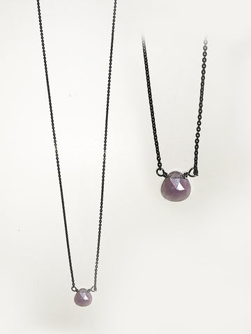 Purple Moonstone Sterling Silver Necklace