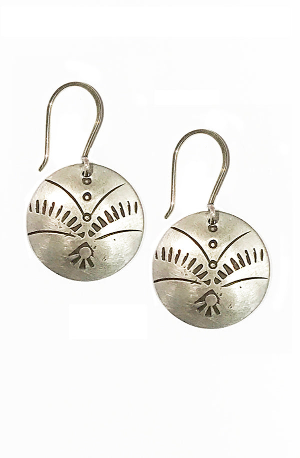 Stamped Silver Disc Earrings