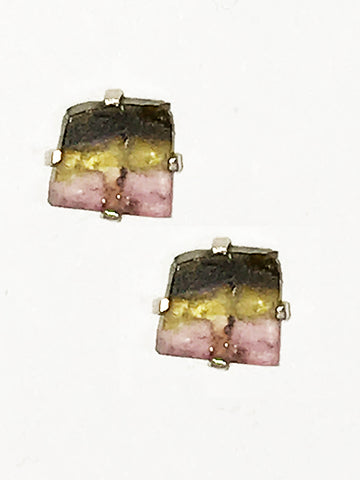 Watermelon Tourmaline Post Earrings