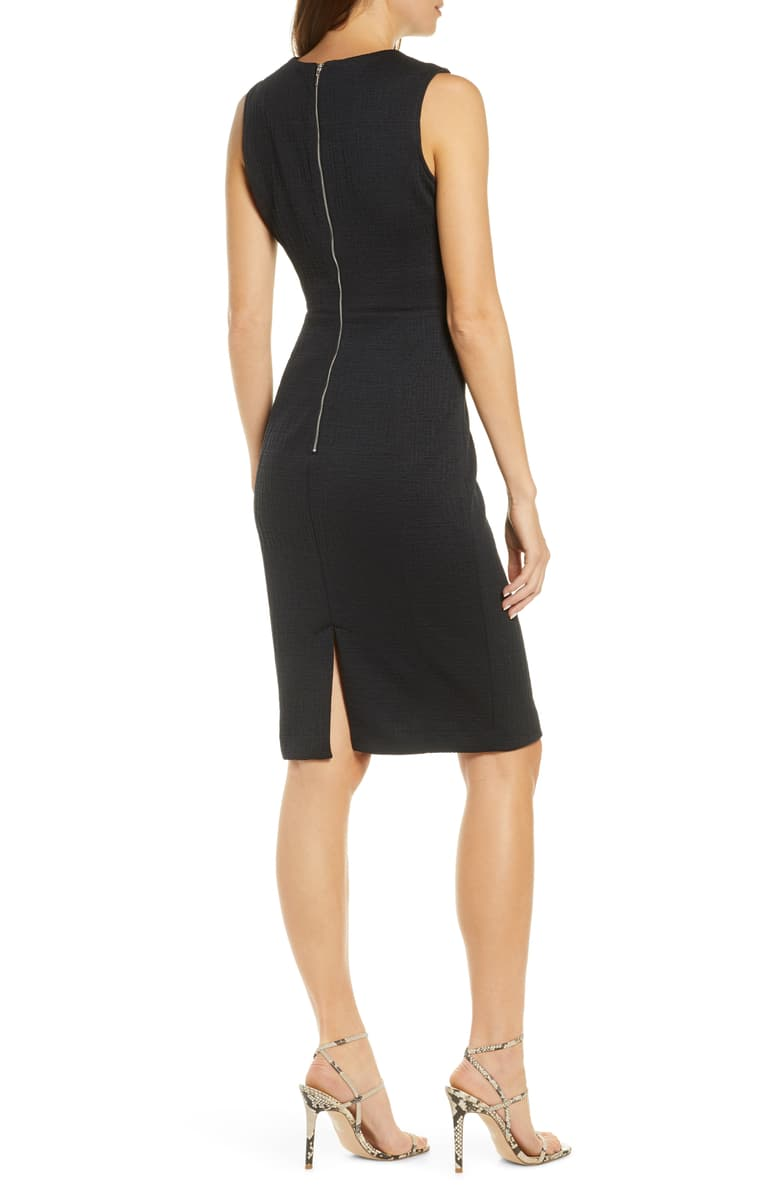 Textured Sleeveless Sheath Dress