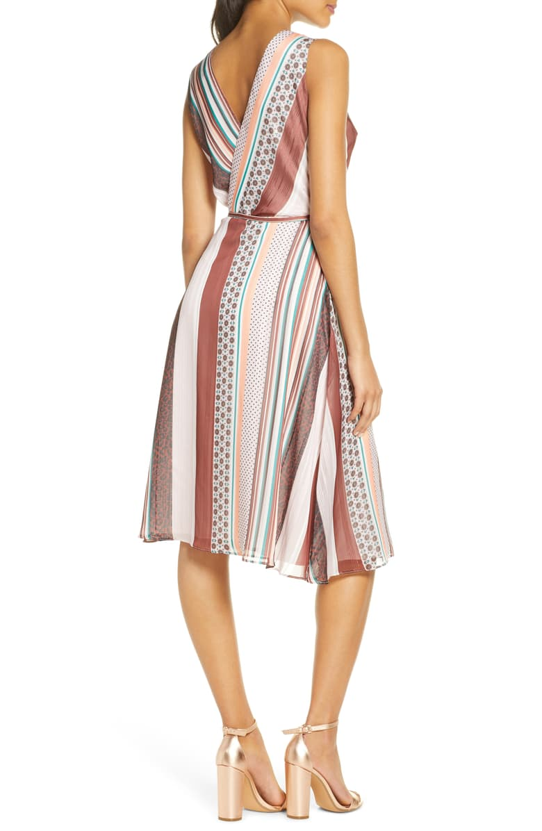 Mix Print Sleeveless Wrap Dress