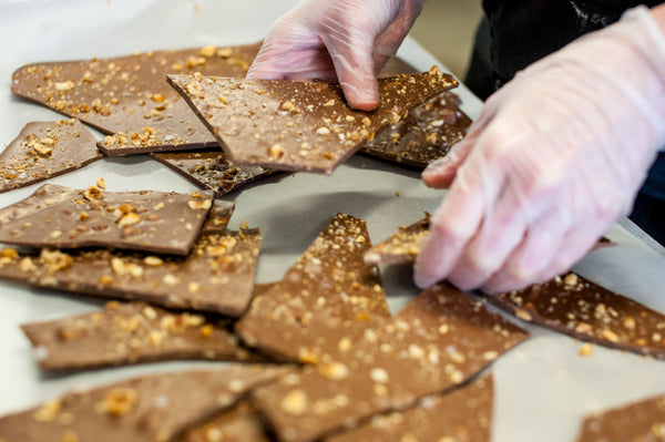 Milk chocolate hazelnut and sea salt chocolate shards